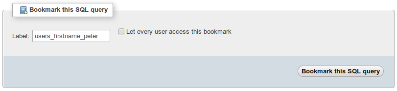 PhpMyAdmin Bookmark