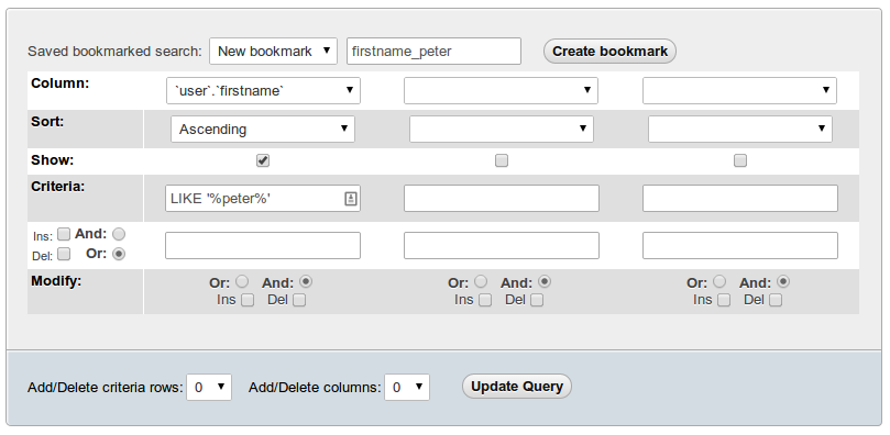 PhpMyAdmin Saved Searches