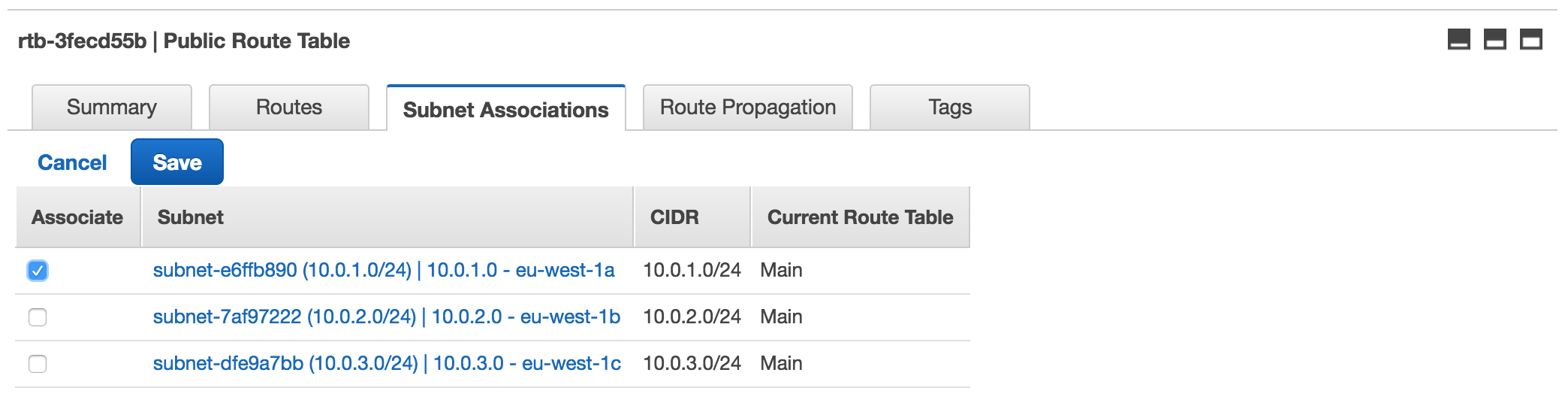 Associate a Subnet with a Route Table
