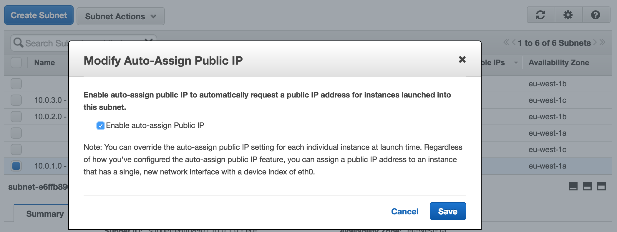 Assign public IPs to a subnet
